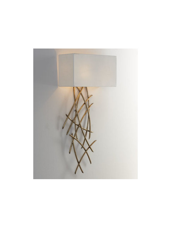 John-Richard Collection - John-Richard Collection Abstract Wall Sconce - Abstract wall sconce features a lamp body that is separate from the shade, so the body can be positioned any distance from the shade to produce interesting configurations. Handcrafted of iron. Antiqued Venetian-silver finish. Linen shade. Uses tw...
