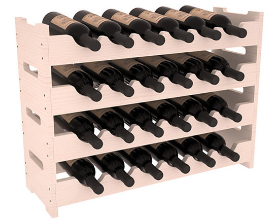 24 Bottle Mini Scalloped Wine Rack in Pine with White Wash Stain -