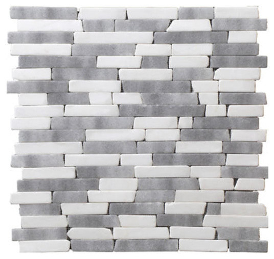 Mix Marble Random Strip Mosaic White With Brown Kitchen Backsplash