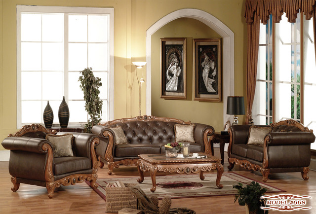 French Provincial Sofa Set In Brown Finish Contemporary Living Room Furni