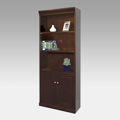 kathy ireland Fulton Wood Bookcase with Doors - Espresso traditional bookcases cabinets and computer armoires