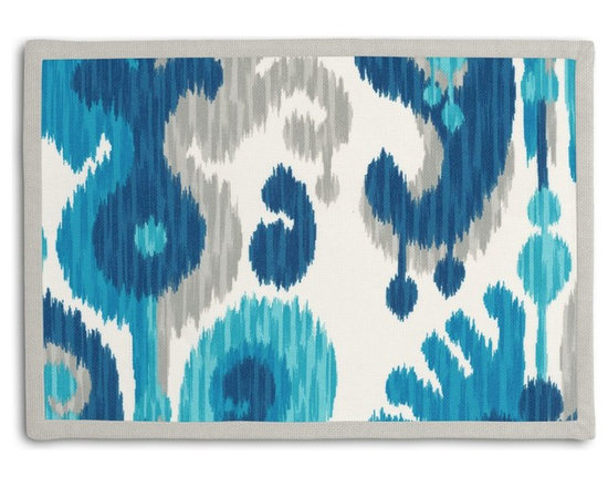 Blue & Aqua Ikat Tailored Placemat Set - Class up your table's act with a set of Tailored Placemats finished with a contemporary contrast border. So pretty you'll want to leave them out well beyond dinner time! We love it in this oversized outdoor ikat that will make a big (literally!) splash in clean, bright shades of blue, aqua & gray.