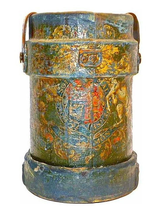 Leather Cannon Powder Bucket - Antique papier-mâché, canvas and leather cannon powder bucket that would make a great umbrella stand. It has a painted royal crest and leather and brass button accent straps.