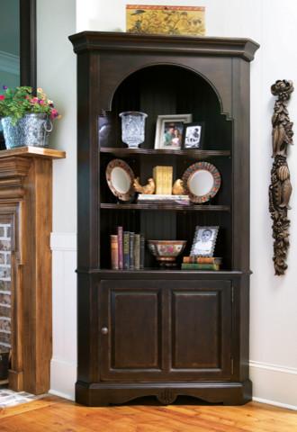 Paula Deen Corner Cupboard in Tobacco traditional-kitchen-cabinetry