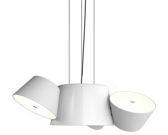 Marset - Tam Tam Pendant - Tam Tam Pendant consists of a central shade made of lacquered aluminum in Black or White with satellite shades in Black, White, Sand, Grey Brown, Orange, or Green which can be rotated 360 degrees by means of a swivel mechanism. An opalescent, methacrylate bottom diffuser softens the light. Available in a small size with three satellite shades, or a large size with five satellite shades.  60 watt, 120 volt A19 type medium base incandescent bulbs are required, but not included. Compact fluorescent or LED equivalent lamping can be used. Small: 33.5 inch width x 13.6 inch height x 138 inch maximum length. Large: 41.1 inch width x 13.6 inch height x 138 inch maximum length.