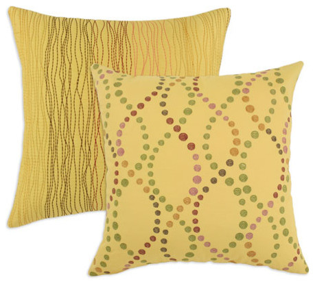 Doodle and Maybella Daffodil Embroidered Pillows modern-bed-pillows