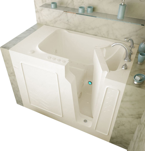 Meditub 29x52 Right Drain Biscuit Whirlpool and Air Jetted Walk-In Bathtub traditional-bathtubs