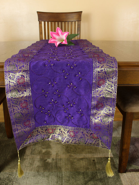 """Elegant Table Runners - Colorful """"Grape Purple"""" Table Runner. Indian hand embroidered design. Dupion fabric. Perfect decor idea to embellish your room."""