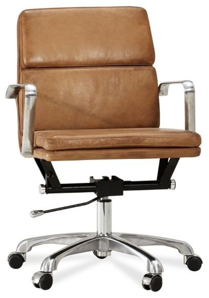 Nash Leather Swivel Desk Chair - modern - task chairs - by Pottery