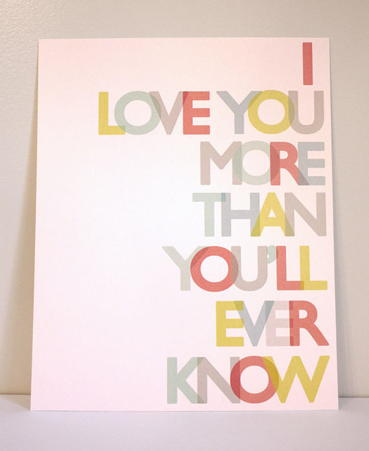 Love You More Print in Primary Colors by Gus & Lula contemporary nursery decor