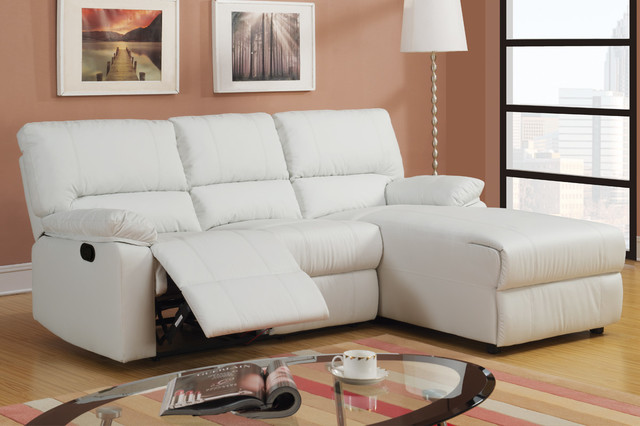 Small cream leather reclining sectional sofa set recliner - Leather reclining sectional with chaise ...