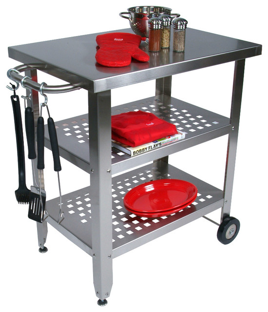 Steel Top Cucina Avanti Stainless Steel Kitchen Barbecue Cart Contemporary