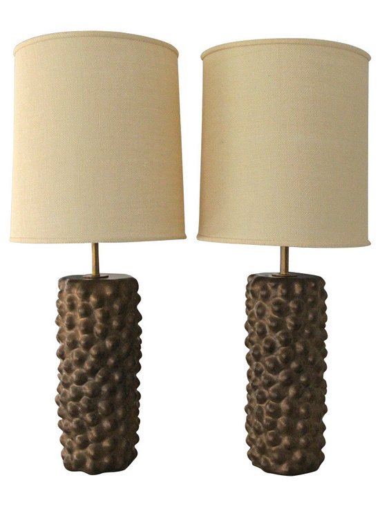 PAMELA SUNDAY LAMPS FOR VAN DEN AKKER - racing an Upper West Side living room, these handcrafted ceramic Van den Akker Lamps by Pamela Sunday truly make a room with their incredible bronze luster and unique texture. In excellent condition, you can't pass up on this rare and original pair that will only increase in value over time.