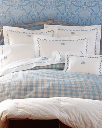 Matouk Scallops Bed Linens & Amanda Reversible Quilts Breakfast Sham traditional shams
