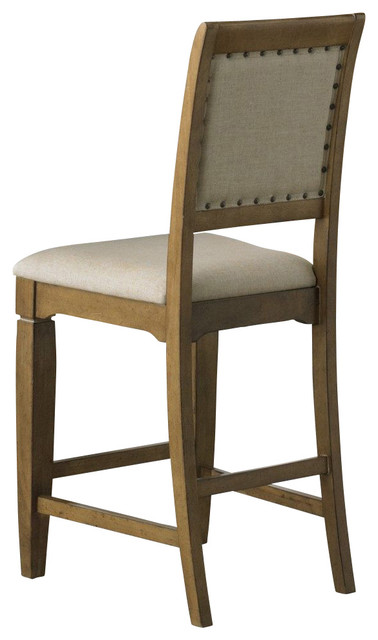 ... Upholstered Counter Height Stool in Sand, Light traditional-bar-stools