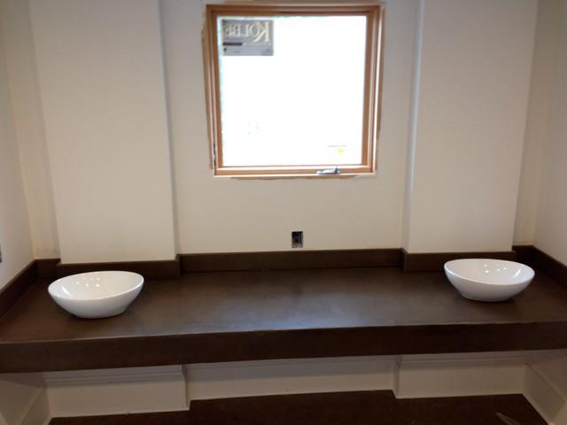 Floating concrete vanity & backsplash traditional