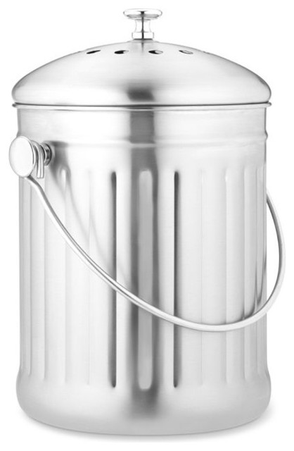 Brushed Stainless-Steel Compost Pail modern-trash-and-recycling