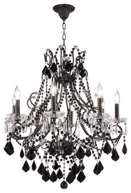 """Crystal Charleston Collection 28"""" Black Crystal Chandelier eclectic-chandeliers"""