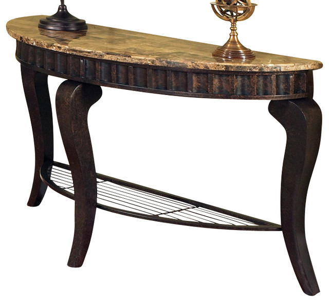 Steve Silver Hamlyn Marble Top Sofa Table - Traditional - Console Tables - by Beyond Stores