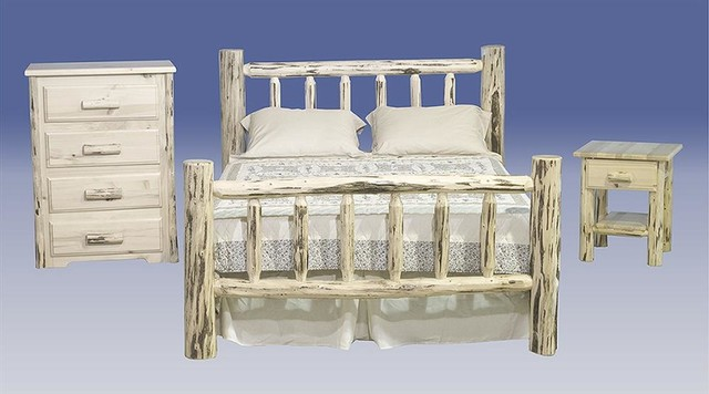 Montana 3 Pc Log Bedroom Set King In Unfinis Rustic Bedroom Furniture