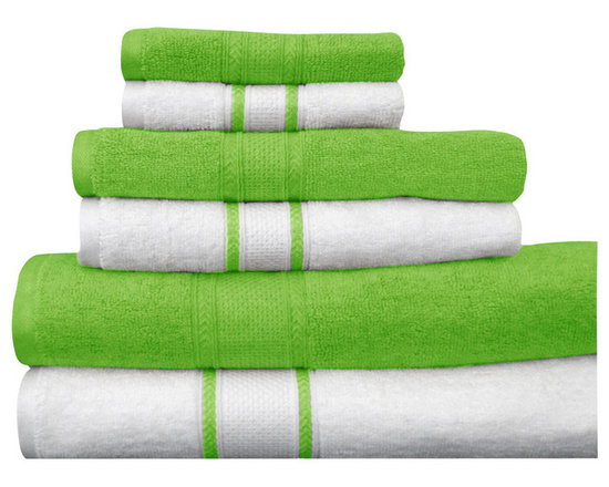 "Casa-Platino - Quick Dry-100% Egyptian Cotton 6 Piece Towel Set, Green - Two bath towels 28"" x54"""