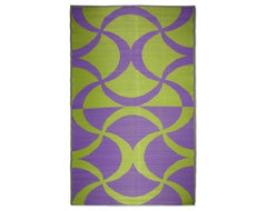 Koko Company Waves Indoor/Outdoor Area Rug - Green/Purple contemporary-rugs