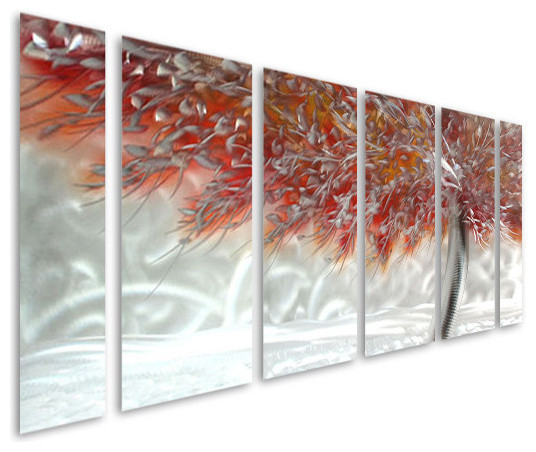 Wall Art Metal Panels : Ferocity of color aluminum set six metal wall art