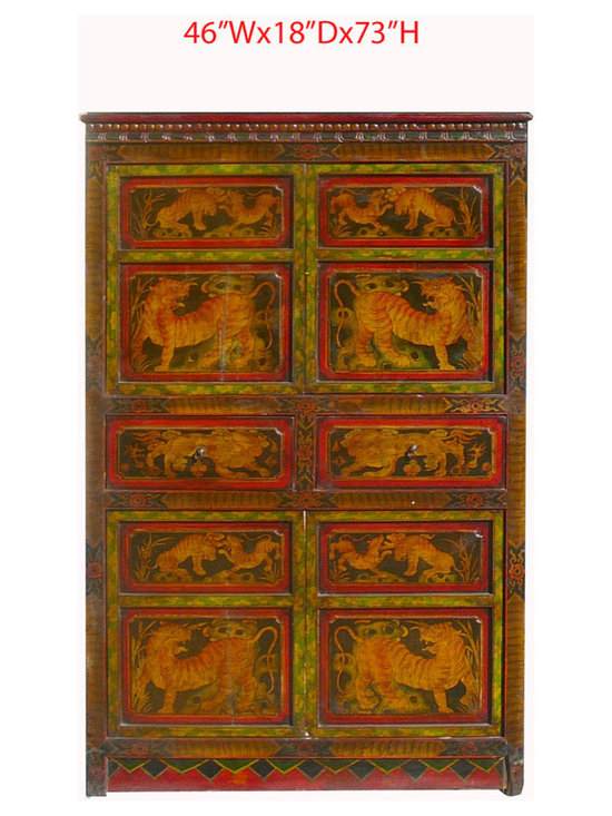 Big Tibetan Antique Tiger Lion Hand Paint Armoire Storage Cabinet - This is a Tibetan antique armoire which is made of solid elm wood. The front of the cabinet has very detail tiger and lion painting on it. You can use as armoire or storage cabinet.