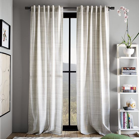 New Cotton Canvas Printed Crosshatch Window Panel - Modern - Curtains ...