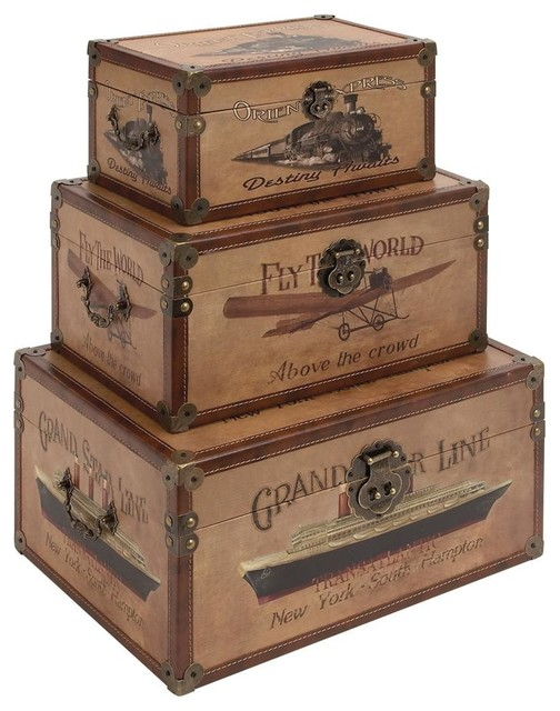 World traveler rectangular trunk set of 3 traditional - Decorative trunks and boxes ...