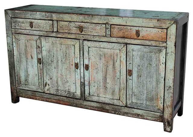 Natural Wood Distressed Saddlemeyer Buffet Asian