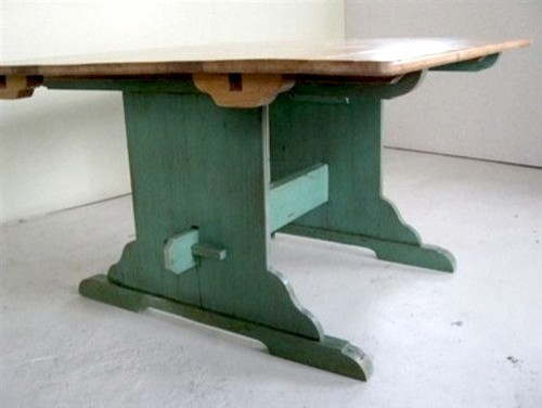 Original trestle table with painted base 2 extensions for Traditional dining table bases