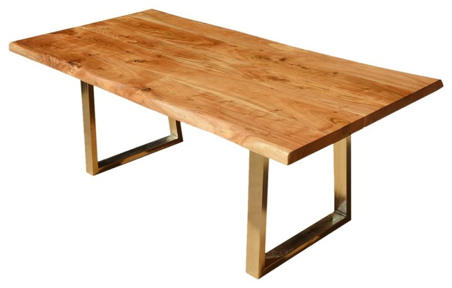 Modern Rustic Solid Wood Industrial Iron Live Edge Dining Table Rustic Di