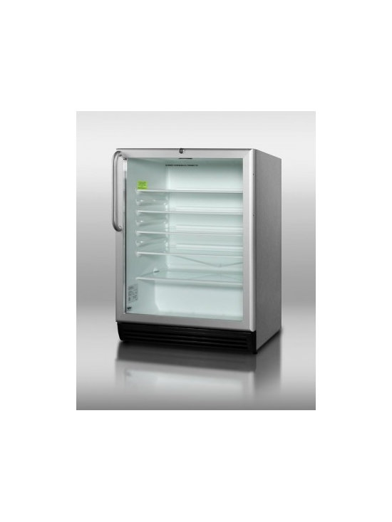 "Summit - SCR600BL-CSS 24"" 5.5 cu. ft. Commercially Approved Beverage Center  Glass Door - With a slim width and full features SUMMIT39s popular SCR600L series of all-refrigerators offer reliable service in a wide range of commercially approved models with glass doors"