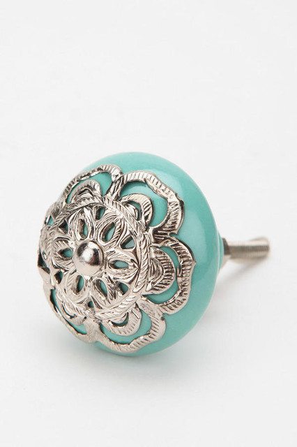 Medallion knob turquoise eclectic cabinet and drawer for Turquoise door knobs