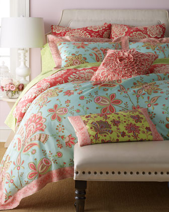 Amy Butler Sari Bloom Bed Linens Full/Queen Duvet Cover, 86 x 86 traditional-sheets