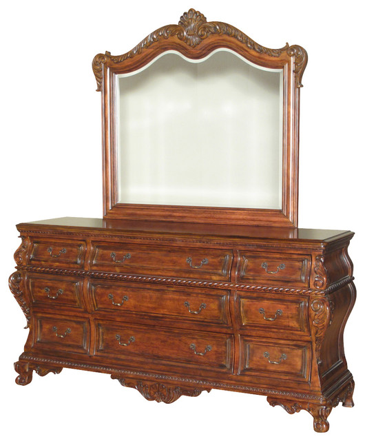 6Ft Wide Mahogany French Bombe 9 Drawer Vanity Chest ...