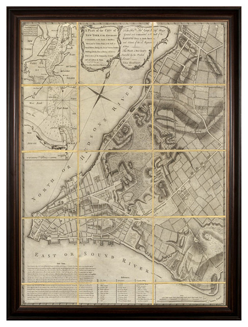 Antique Folded New York Map Large Wall Art - Framed industrial-prints-and-posters