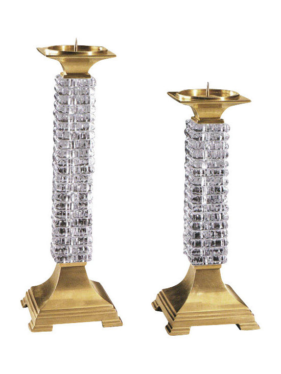 """Inviting Home - Crystal Candlesticks Set - set of two solid crystal candlesticks 14-1/4"""" and 12""""H hand-crafted solid crystal solid brass Crystal candlesticks are made with antiqued solid brass and solid crystal. They are prefect to provide a classic decorative touch to any room."""