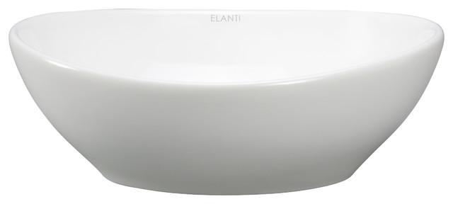 Small Oval Vessel Sink : Porcelain White Vessel Oval Deep Bowl Sink contemporary-bathroom-sinks