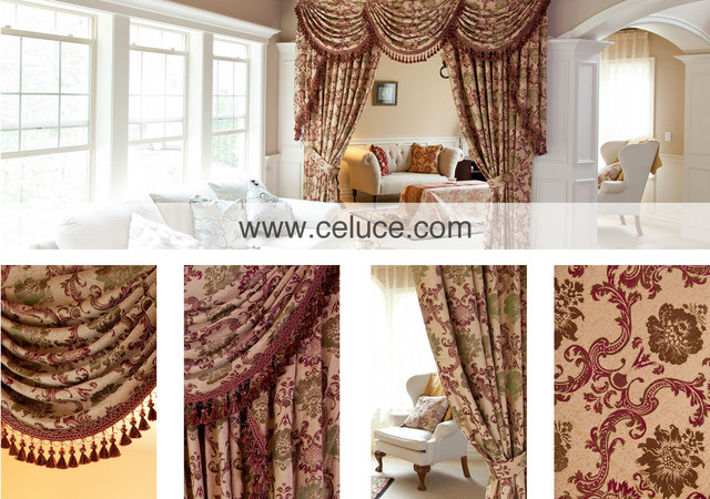 Rosy queen valance curtains with swags and tails by for Living room valances and swags