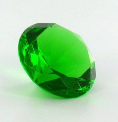 Emerald Green Glass Diamond-Shaped Paperweight traditional-desk-accessories