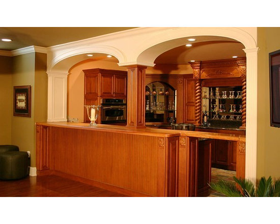 Brazilian Cherry Bar Top with Drawbridge. Designed by Joanne's Kitchens. 2.jpg - http://www.glumber.com/