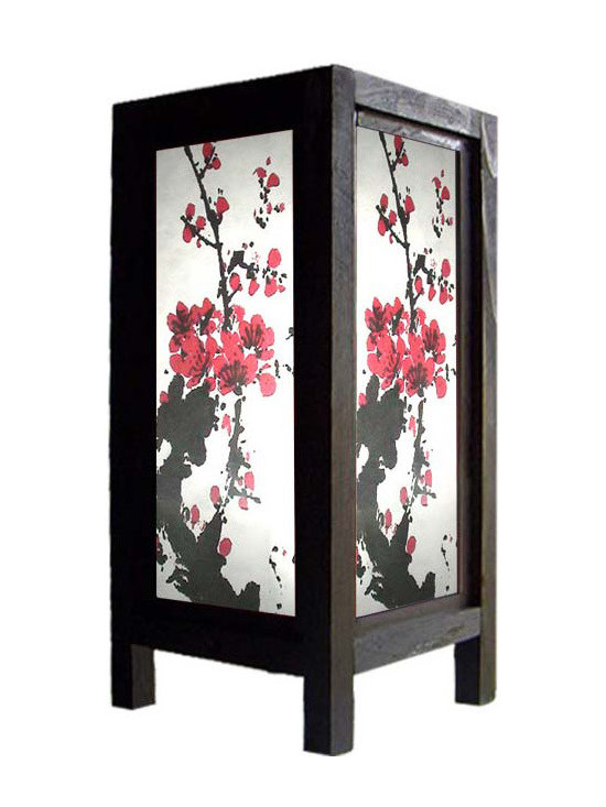 """Oriental-Decor - 11"""" Quiet Sakura Lamp - Black and red, when joined together to form an image, will always create a bold statement. If you want this statement to grace your private space, you can do so by getting this 11"""" Quiet Sakura Lamp. Made from wood and paper, topped off with a dainty Sakura picture and jet black finish, this decorative lamp is a beautiful Oriental-themed piece that you can use as the main centerpiece of your space. Watch as your bland and boring corner, desktop, or table gets a renewed sense of vigor. The combination of the colors and material along with the blossoms is both sultry and powerful. Not too feminine and not too formal, its versatility makes it a good choice for those who need a great art piece for home and the office. Use it to grace romantic outdoor dinners, quiet tea time with loved ones, or even as a night light in your own bedroom. Due to its size and lightness, you will find it easy to move around. Crafted lovingly using pressed pulp paper, it also comes with a 110-volt electrical cord and a light bulb."""