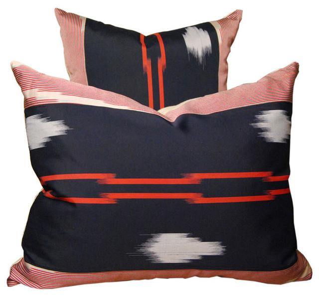 Pair of Vintage Japanese Ikat Pillows asian-decorative-pillows