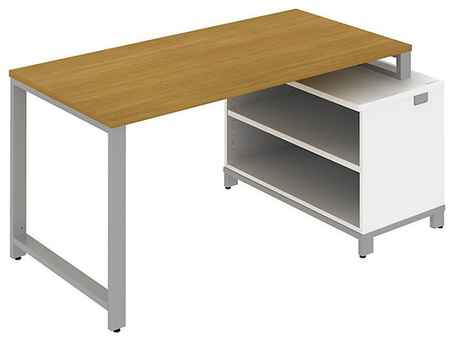 """Bush Momentum 60"""" Floating Desk with Storage in Modern Cherry modern-home-office-accessories"""