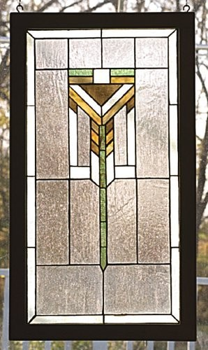 17 Inch W 30 Inch H Prairie Wooden Framed Windows modern-stained-glass-panels