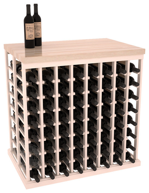 Double Deep Tasting Table Wine Rack Kit + Butcher Block Top in Pine with White W contemporary-wine-racks