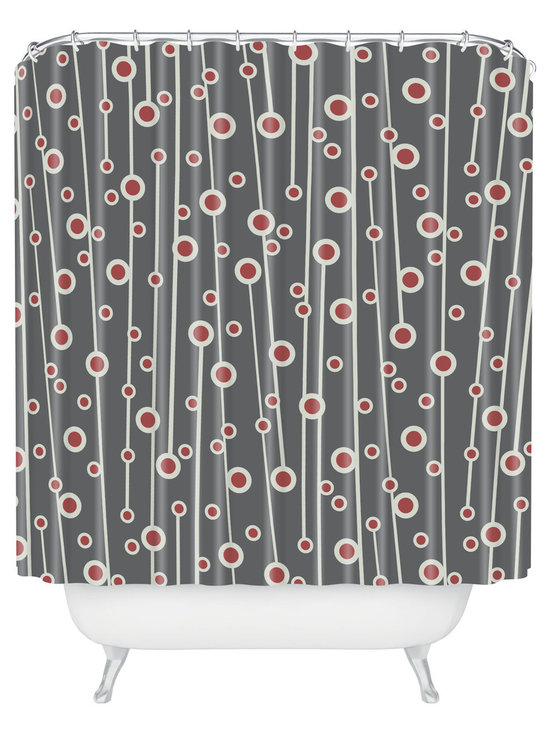 DENY Designs - Heather Dutton Berry Branch Shower Curtain - Stylized berry branches dance across the face of this handsome shower curtain, adding a welcome note of style and sophistication to the bath. Made of machine-washable polyester, so it'll stay looking fresh, shower after shower.