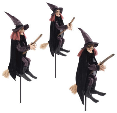 set of three staked halloween witches halloween